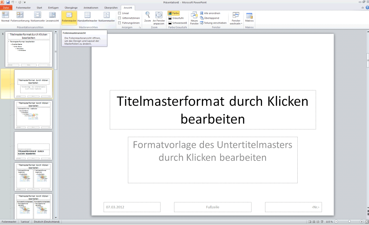 PowerPoint – Folienmaster