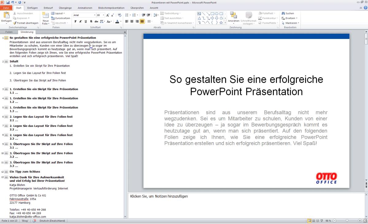 PowerPoint Präsentation – die fertige Präsentation