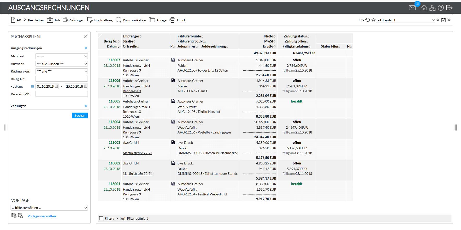 Buchhaltung mit easyJob
