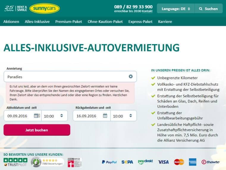 Mietwagen - Sunny-Cars