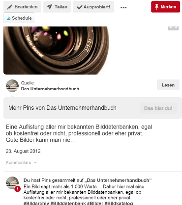 Blog2Social - Pinterest - Text abgeschnitten