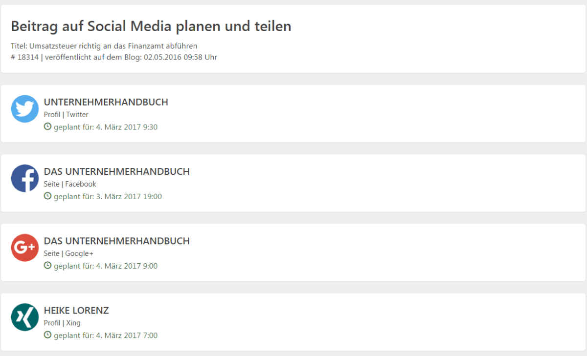 Blog2Social - Postings planen