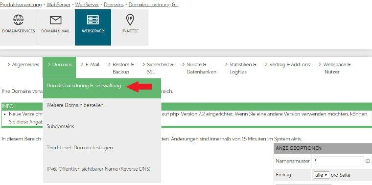 Domain auf das neue Verzeichnis leiten