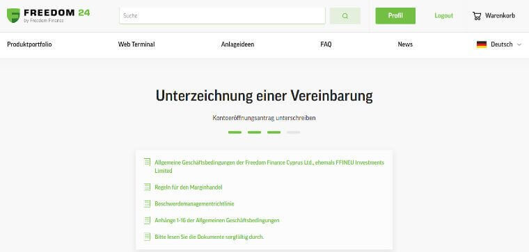 Online-Broker Freedom Finance - Dokumente